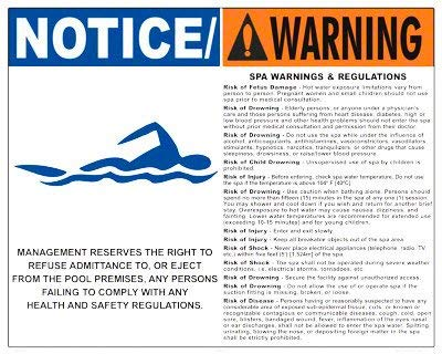 Eletina Case Wall Signs Notice Warning Spa Regulations Sign (16 X 24 Inches) On White Styrene Plastic by Eletina Case