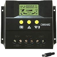 Controlador de Carga Solar 60A PWM LED Controlador de iluminación Vial LCD 12 / 24V Protección de sobrecarga del Monitor del Panel Solar Compensación automática de la Temperatura (60A)