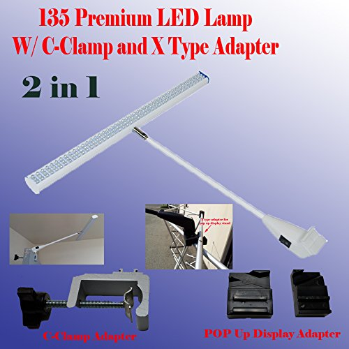 DSM TM 2 in 1 LED (78/ 135) Tube Style Diplsay Light White (6000k) for Trade Show Pop up Tension Booth Podium and Display Panel w/ C-type Adapter Super Bright Tension Las Vegas Approved, Ul Approved (135 LED (18'')) by Display Sign Mart