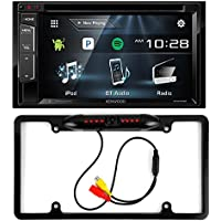 Kenwood DDX24BT Double DIN Bluetooth Stereo with 6.2 inch Wide VGA Color LCD Display + Cache Night Vision Car License Plate Rearview Camera - Black CAM810B