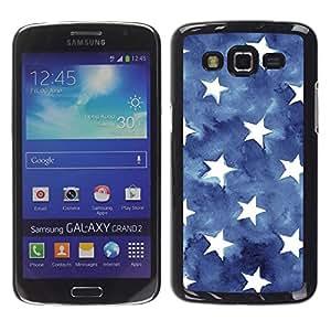 iKiki Tech / Estuche rígido - Blue Watercolor American Flag - Samsung Galaxy Grand 2 SM-G7102 SM-G7105