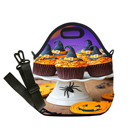 Lunch Box Insulation Lunch Bag Large Cooling Tote Bag Neoprene Insulated Lunch Tote Bag A plate of halloween cupcakes with orange frosting custom Stylish Lunch Bag, Multi-use for Men, Women and Kids]()