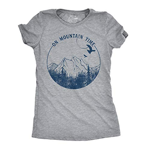 - Womens On Mountain Time Tshirt Cute Outdoor Camping Tee for Ladies (Heather Grey) - L