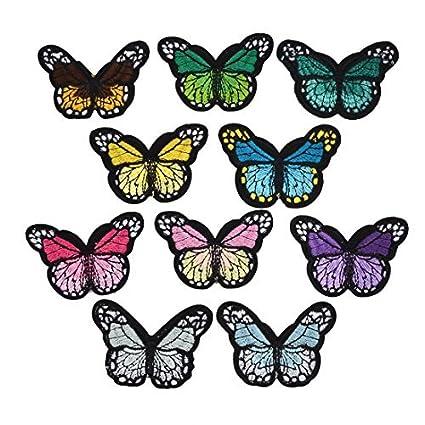 eDealMax Forma Poliéster Inicio de la Mariposa DIY de Coser ropa de Encaje apliques 10pcs Multicolor