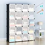 Honey Home Wardrobes Closet, Portable Closets for Bedroom, Plastic DIY Modular Cabinet Shelving Storage Organizer with Easy Closed Doors - 20 Black & White Cubes