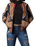 ARTFFEL-Women Casual Africa Print Dashiki Zip Up Pockets Short Jacket Coat Outerwear Black L