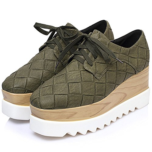 PP FASHION Women's Lace up Platform Shoes Stylish Formal Wedges Casual Sneakers Green (Green Wedge Platform)
