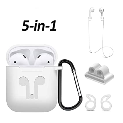 4b6a1551ef0 Airpods Case, Mapoo Airpods Accessories Kits, 5 in 1 Protective Silicone  Cover and Skin