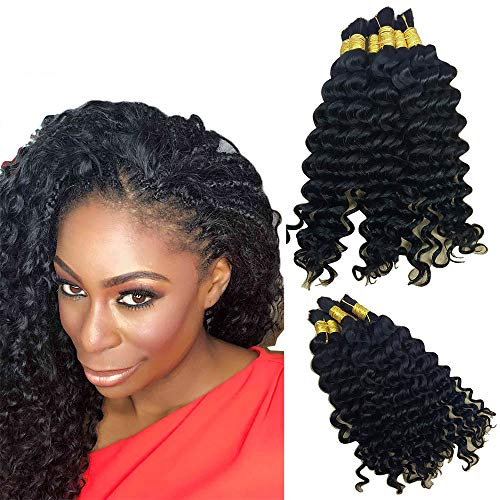 Hannah Queen Wet N Wavy Bulk hair HUMAN HAIR Micro Braiding 3 Bundle 300g Brazilian Deep Curly Wave Bulk Hair For Braiding Human Hair No Weft (24 24 24 Natural Black #1B)
