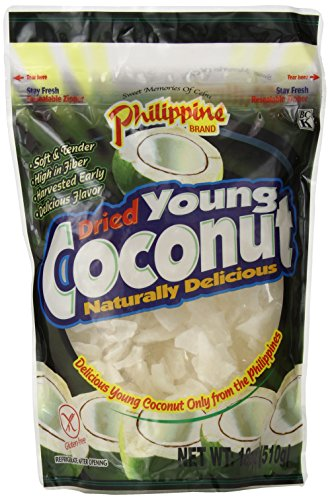 - Philippine Brand Dried Young Coconut Snacks, 18 Ounce