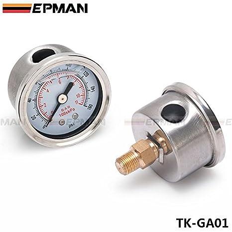 EPMAN Sport Type S Adjustable Fuel pressure Regulator FPR Universal JDM  Turbo + Liquid Gauge 0-160 Psi (Blue)