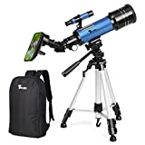 Photo : TELMU Ultra-Clear Telescope Portable Astronomy Telescopes Trusted Refractor Telescope With Universal Wheel Tripod for Entry-level Astronomers and Kids (Additional Rucksack& Mobile Stands Included)