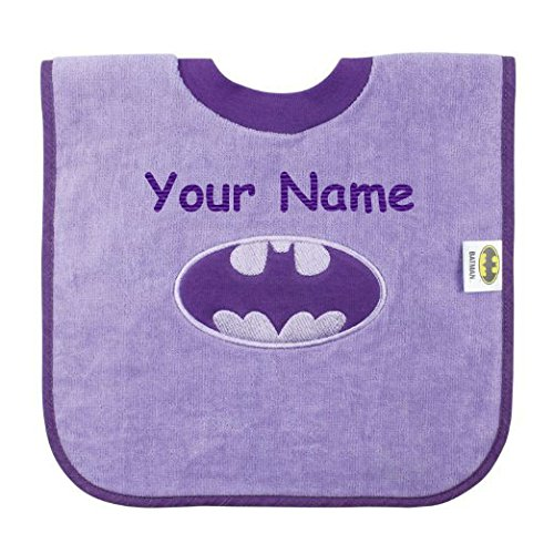 Personalized Bumkins DC Comics Purple Batgirl Superhero Pullover Baby Bib Burp Cloth with Name Embroidery ()