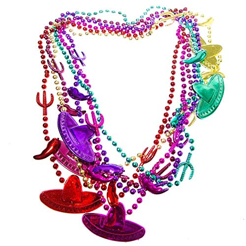 4E's Novelty Fiesta Beaded Necklaces - Fiesta Party Decorations - Cinco de Mayo Gatherings - Cactus, Chili, Sombrero Hats Shaped Beads 30