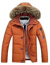 Tanming Men's Winter Warm Puffer Down Jacket Coat With Fur Trimmed Hood