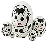Winterworm Cute Egg Shape Animal Theme Handmade Wooden Russian Nesting Dolls Matryoshka Dolls Set 5 Pieces For Kids Toy Birthday Christmas Easter Gift Home Decoration-Dairy Cow