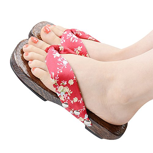 TOMORI Womens Japanese Clogs Geta Sandals Anime Cosplay Accessory Wooden Shoes for Kimono (39, Red) from TOMORI