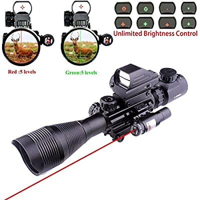 Lovebay 3 in 1 Tactical Rifle Scope 4-12x50EG Dual Illuminated with Holographic 4 Reticle Red&Green Dot Sight and Red Laser Sight for Hunting by Lovebay