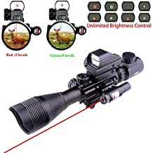Ourgears Tactical Rifle Scope- Tubeless Design 33mm Reflex Lens- Build In Mount- Tactical Multi Optical Coated Holographic Red and Green Dot Sight for Hunting-Accurate Crosshair-Hunting Light & Laser