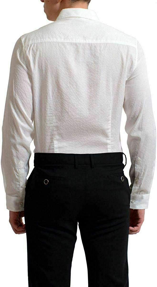 Versace Jeans Mens White Striped Long Sleeve Button Down Shirt US S IT 48