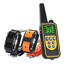 Oxygentle 800 Yards Range Remote Dual Dog Training Collar, Rechargeable and IPX7 Rainproof Dog Shock Collar with Beep, Vibration and Shock, Electric Dog Collar for Puppy, Small, Medium and Large Dogs, 2 Electronic Collar Receivers Included