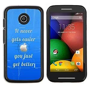 """Be-Star Único Patrón Plástico Duro Fundas Cover Cubre Hard Case Cover Para Motorola Moto E / XT1021 / XT1022 ( Nunca más fácil inspirada Mejor Azul"""" )"""