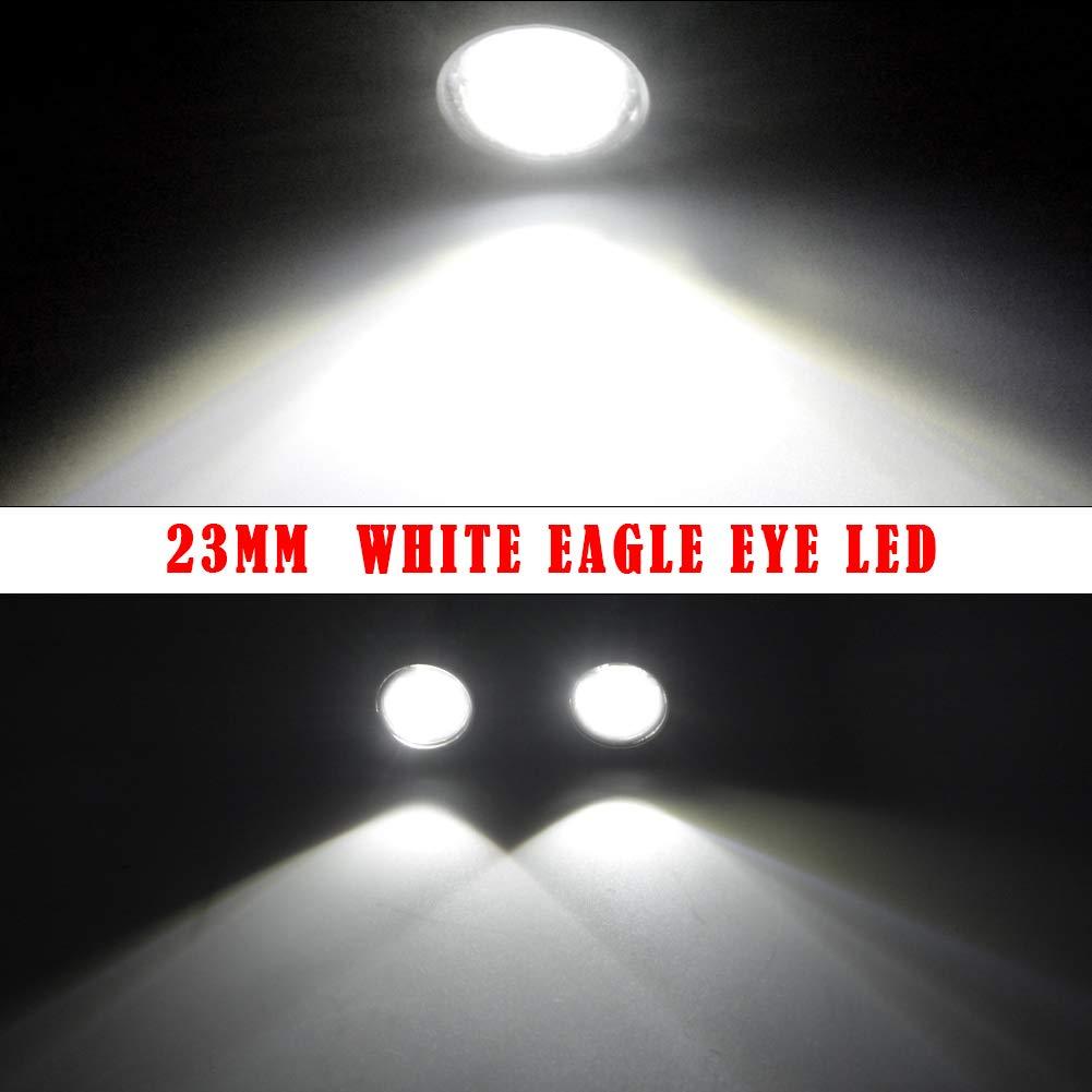YITAMOTOR 10x White Amber Eagle Eye LED 23mm 6SMD 9W High Power Eagle Eye Lighting for All DC12V Vehicles