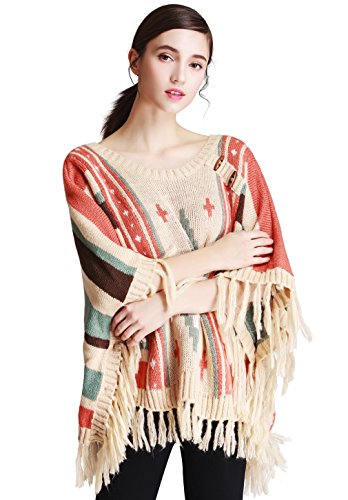 Mantos Eternity Women's Knit Poncho Capes Comfy Striped Pullover Sweater