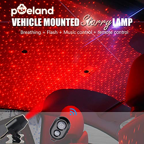(Poeland Car Interior Lights USB Star Projector Laser Lights, Romantic Galaxy Ambient Night Lamp Fit All Cars Ceiling Roof Decoration Light Color)