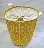 Nurtury Fabric Laundry Hamper Drawstring, Waterproof Collapsible Storage Basket (Yellow White Lattice)