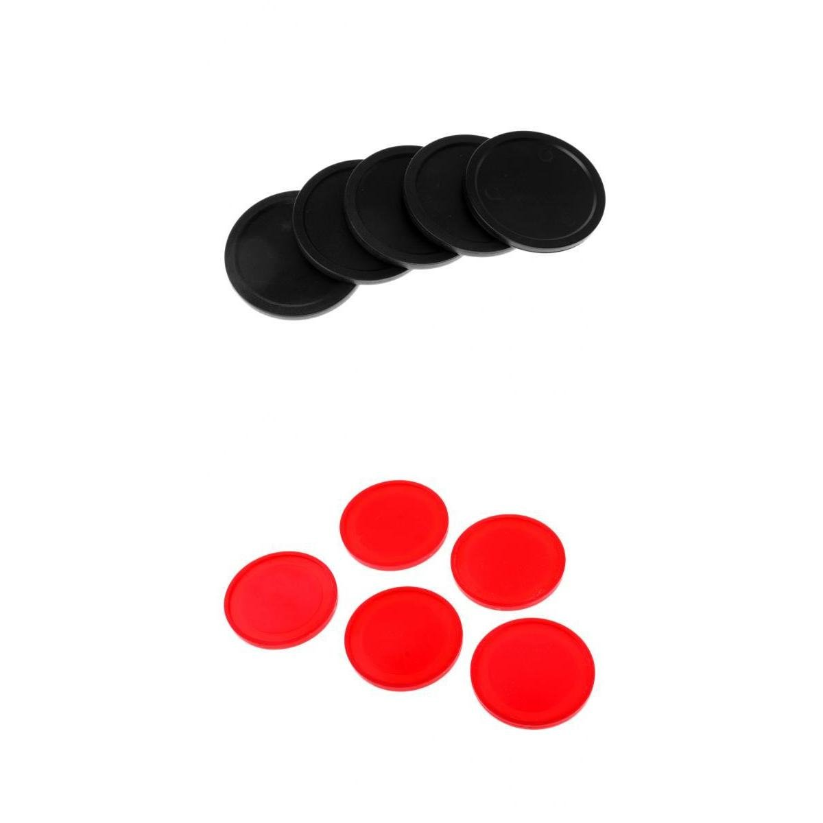 MagiDeal 10 Pieces Air Hockey Pucks for Full Size Air Hockey Tables Red Black 60mm 50mm non-brand