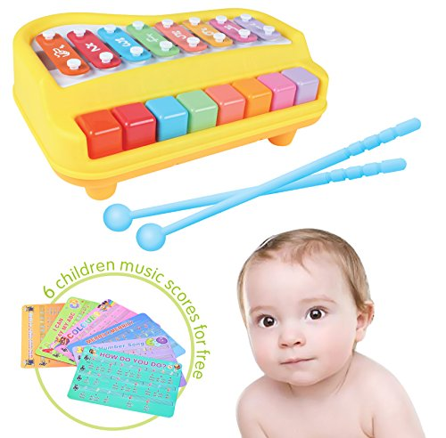 2-in-1 Xylophone & Piano for Kids with Sheets of Nursery Rhy