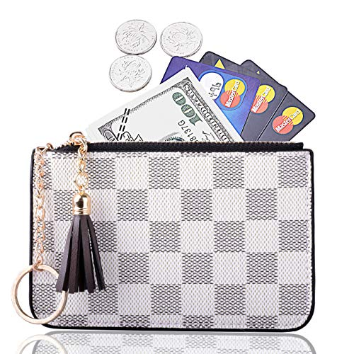 Women Coin Purse Leather Change Credit Card Holder Wallet with Key Chain Tassel Zip Off-white (Key Wallet Coin Purse)