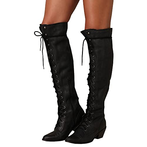 Syktkmx Womens Lace Up Strappy Knee High Motorcycle Riding Low Heel Winter Leather Boots