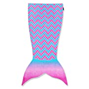 Toweltails 100% Premium Cotton Mermaid Tail Shaped Towel for girls, pink and blue