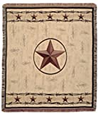 """Rustic Barbed Wire & Texas Star Decorative Woven Afghan Throw Blanket 50"""" x 60"""""""