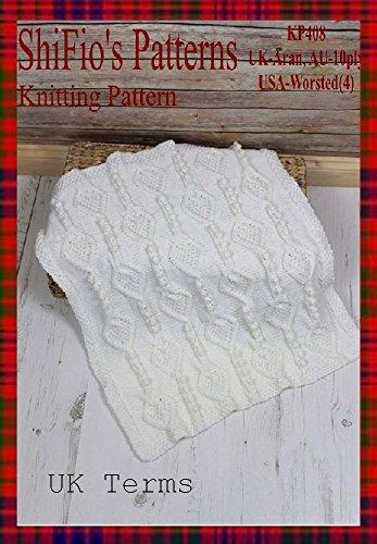 (Knitting Pattern-KP408-Aran Baby Blanket Afghan-UK)