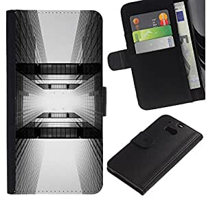 EuroTech - HTC One M8 - Building Architecture Black White City - Cuero PU Delgado caso Billetera cubierta Shell Armor Funda Case Cover Wallet Credit Card