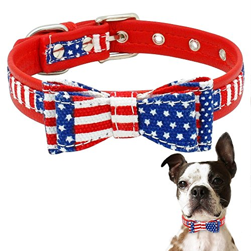 Stock Show 1Pc American Flag Dog Cat Collar with Bowtie Adjustable Soft PU Leather Pet Patriotic Collar for Small Medium Large Dogs Cats Prop Costume, - Leather Collar American