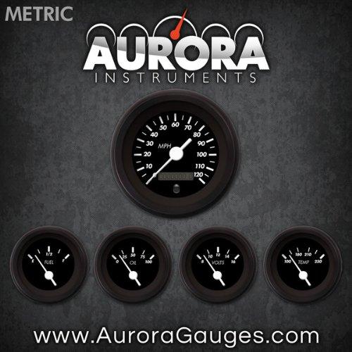 White Vintage Needles, Black Trim Rings, Style Kit Installed Aurora Instruments 4815 Marker Black Metric 5-Gauge Set