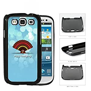 Happy Thanksgiving Cute Turkey On Blue Background Samsung Galaxy S3 I9300 Hard Snap on Plastic Cell Phone Case Cover