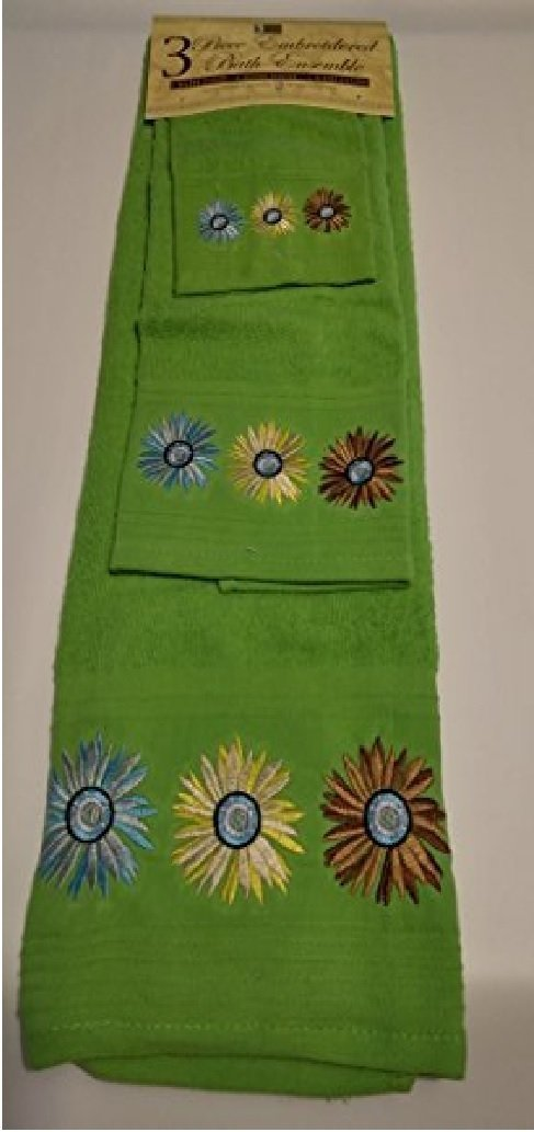Lime Green Towel with Flower Design - 3 Piece Embroidered Bathroom Towel Set - Bath Towel, Hand Towel, Wash Cloth