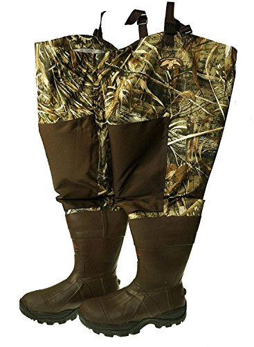 DUCK COMMANDER Fly Zone Waterproof Insulated Hip Waders for Men Realtree Max-5 (8 D(M) US)