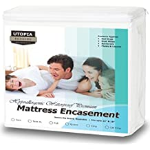 Premium Zippered Waterproof Mattress Encasement - Bed Bug Proof Mattress Cover - Ample Zipper Opening for Mattress Protector - Protection from Fluids, Insects and Dust Mites (Twin) by Utopia Bedding
