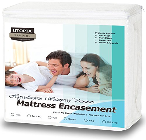 Premium Zippered Waterproof Mattress Encasement - Bed Bug Proof Mattress Cover - Ample Zipper Opening for Mattress Protector - Protection from Fluids, Insects and Dust Mites (Queen) by Utopia Bedding (Bedding Queen Mattress)