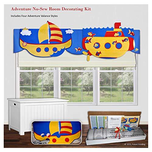 Traceable Designer Kids Window Treatment, Adventure Theme, No-Sew Room Decorating Kit ()