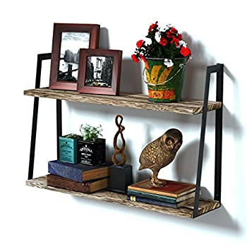 RooLee Upgraded 2-Tier Floating Wall Mount Shelves Book Shelves Rustic Wood Hanging Shelves, Storage, Display & Decor for Bedroom, Living Room, Kitchen, Office and More