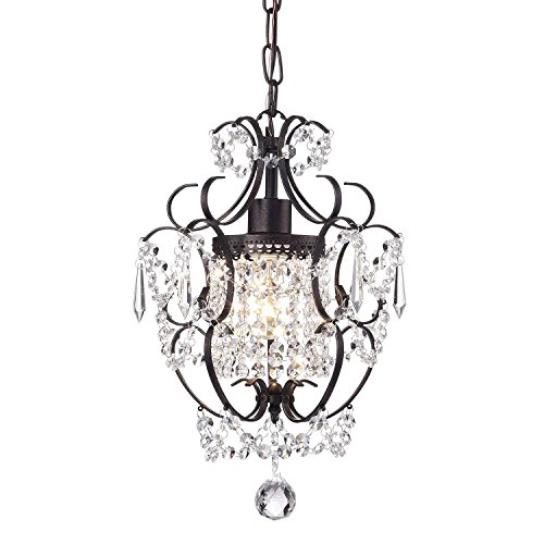 Antique Bronze Finish Crystal - Amorette 1-Light Antique Bronze Finish Mini Chandelier Wrought Iron Ceiling Fixture