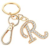 Keychain for Women AlphaAcc Purse Charms for Handbags Crystal Alphabet Initial Letter Pendant with Key Ring,Letter R