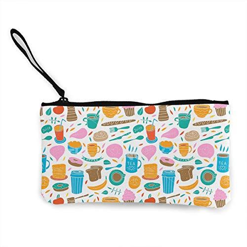 Oomato Canvas Coin Purse Delicious Breakfast Cosmetic Makeup Storage Wallet Clutch Purse Pencil Bag